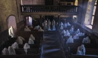 ghostly choir in an abandoned cathedral